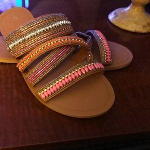 Shoes - Multi straps of rhinestone, beads, stones sandal